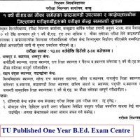 TU Published One Year B.Ed. Exam Centre