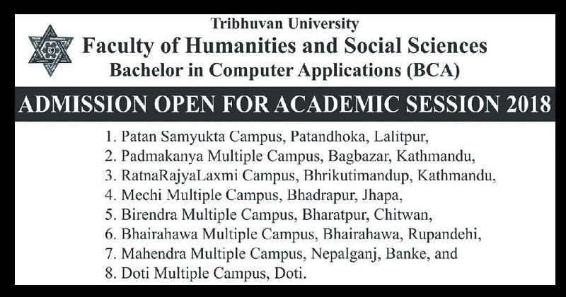 Admission Open to Bachelor in Computer Applications BCA