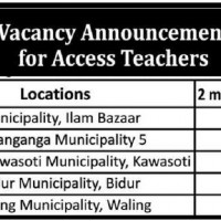 Vacancy Announcement foe Access Teachers