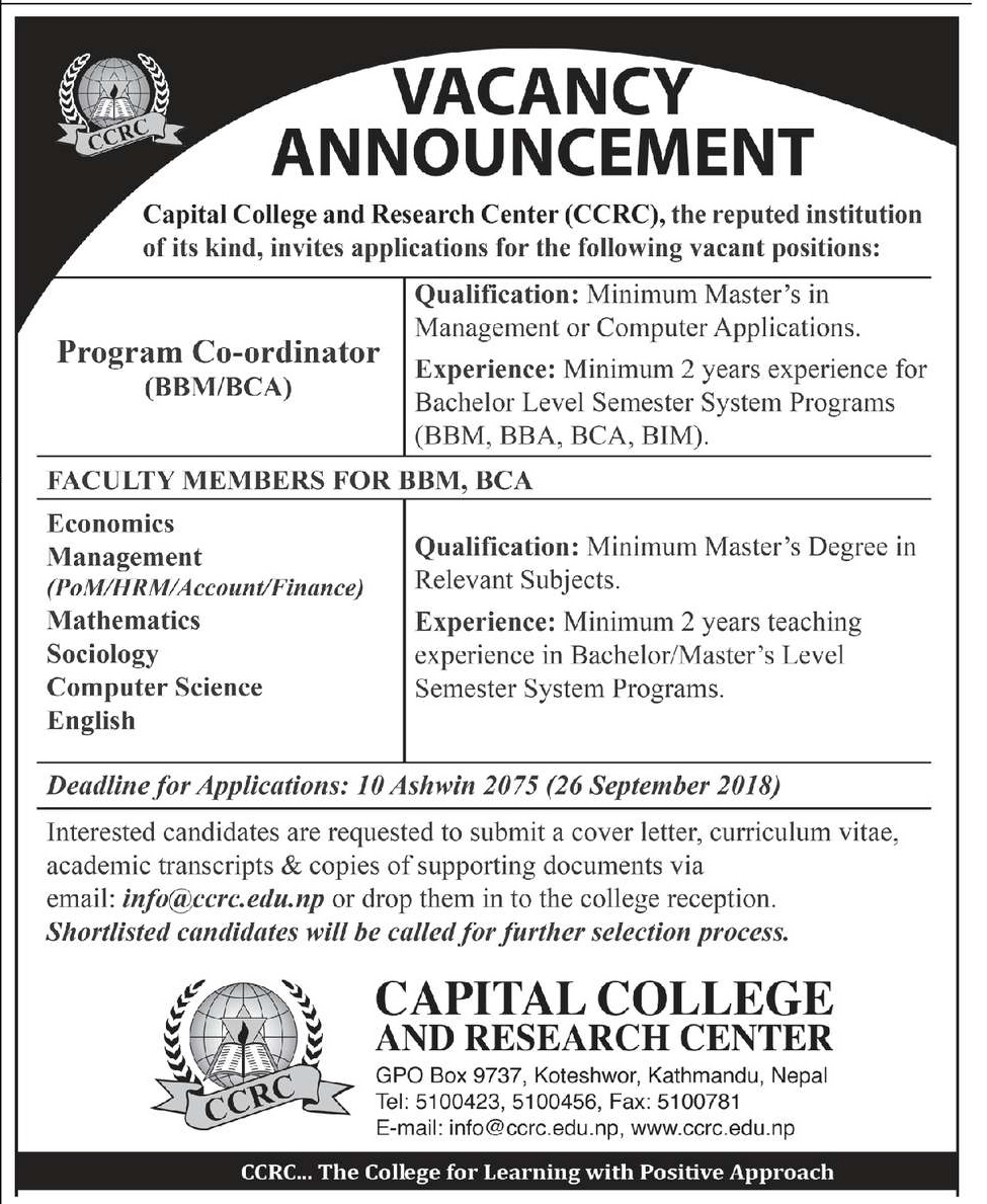 Capital College and Research Center (CCRC) Announces Job