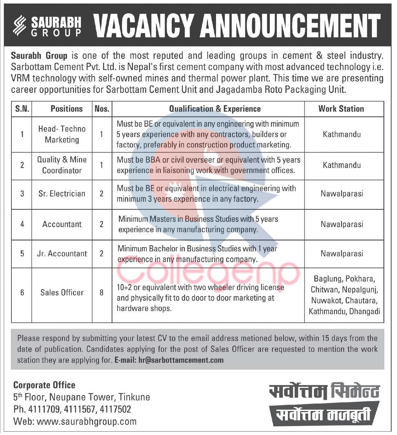 Sarbottam Cement Job Vacancy Announcement | Collegenp