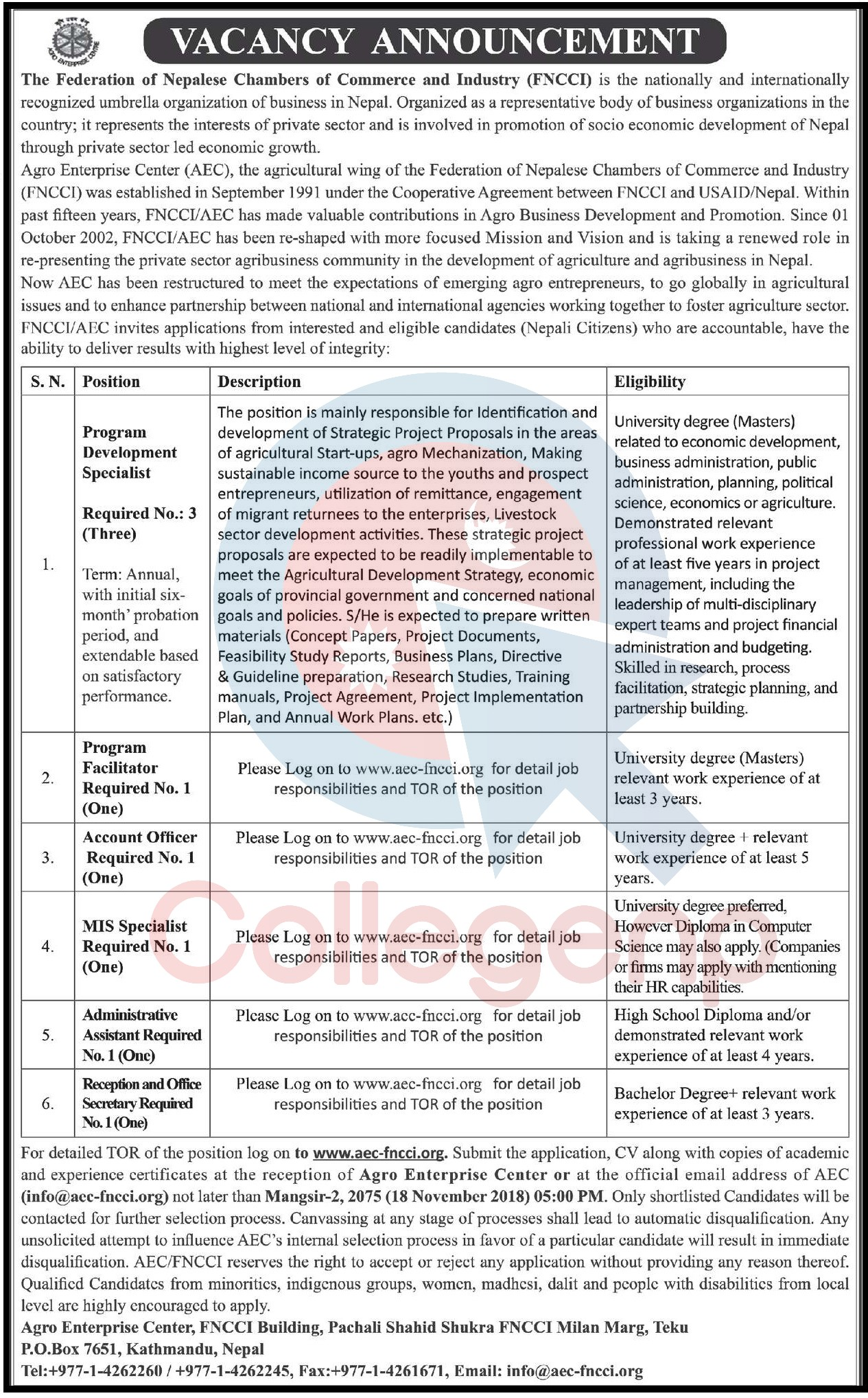 Federation Of Nepalese Chambers Of Commerce And Industry Fncci Job