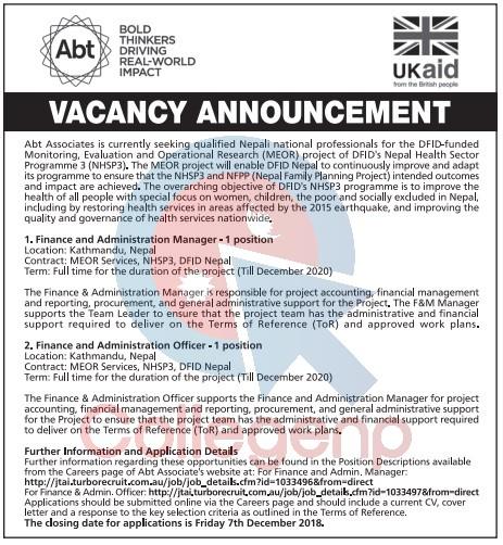 Abt Associates Job Vacancy Notice   Collegenp