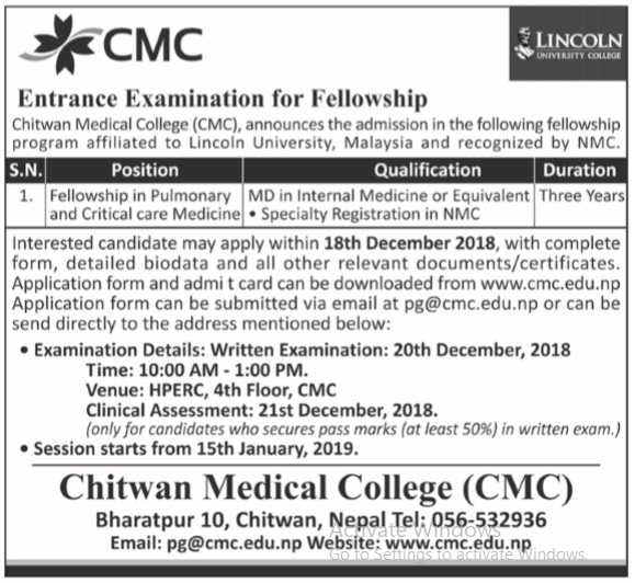 Entrance Examination for Fellowship at Chitwan Medical College