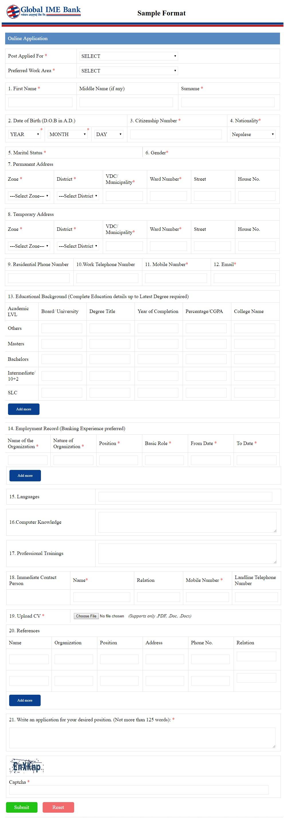 bank vacancy online application