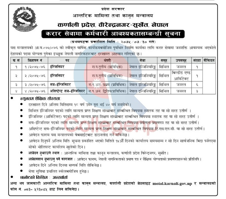 Ministry of Internal Affair and Law, Karnali Province Job Vacancy Notice
