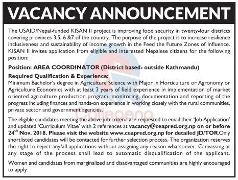 USAID Nepal Funded KISAN II project Job Vacancy   Collegenp