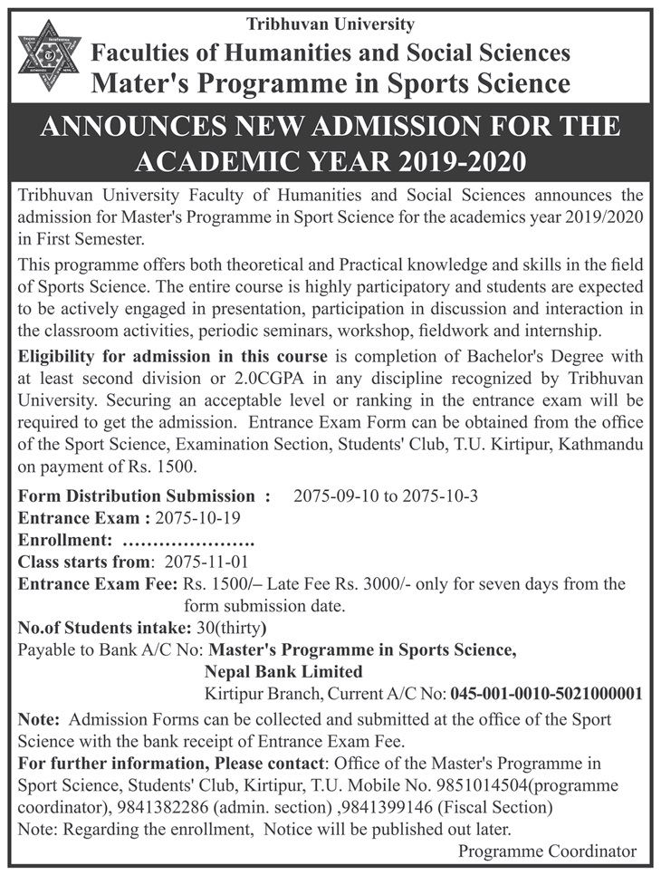 Admission open to Master in Sports Science (MSS) at Tribhuvan University