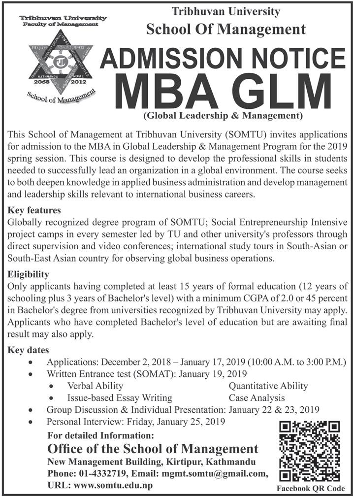 MBA in Global Leadership and Management Program at SOMTU