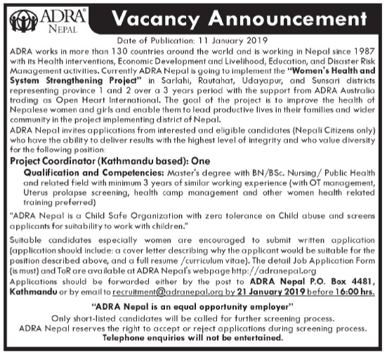 ADRA Nepal Vacancy for Project Coordinator