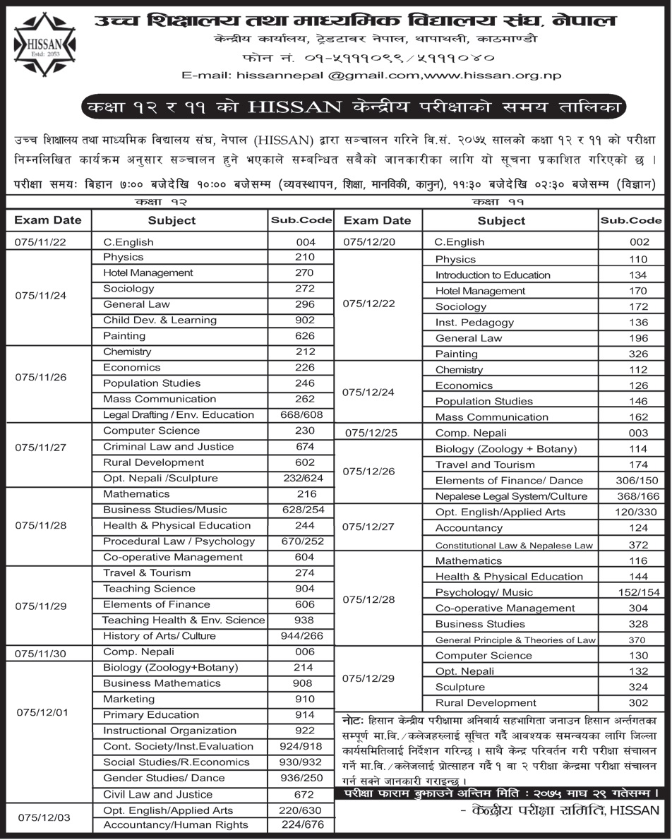 HISSAN Examination 2075 Routine for Grade 12 and 11 - Collegenp