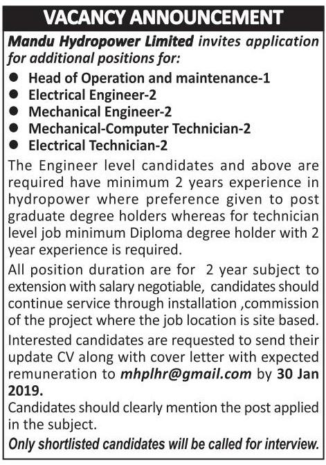 Mandu Hydropower Limited Vacancy