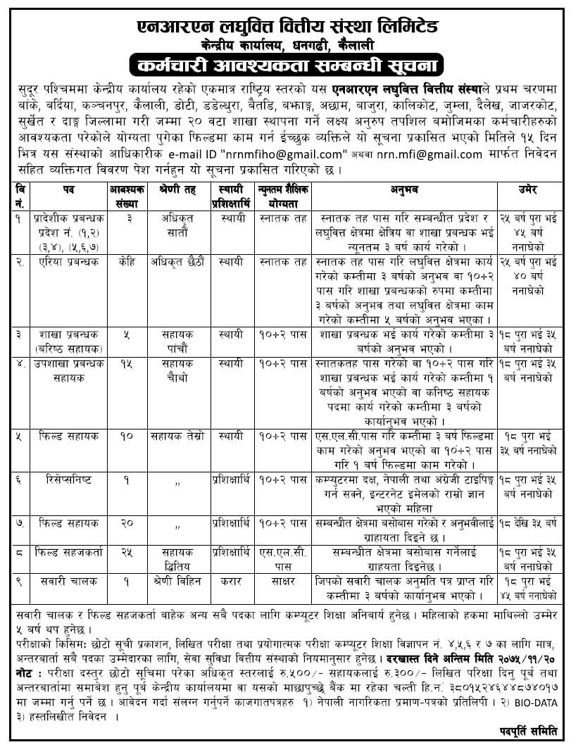 NRN Laghubitta Bittiya Sanstha Vacancy