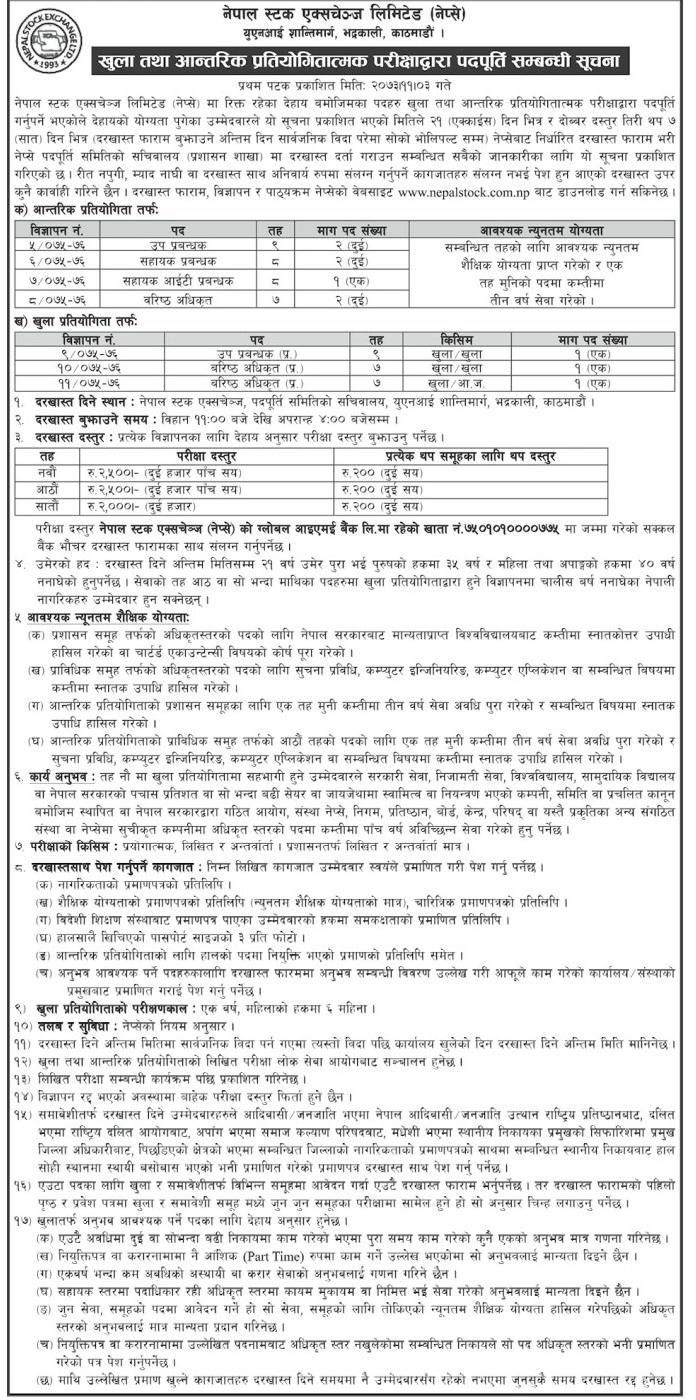Nepal Stock Exchange Vacancy