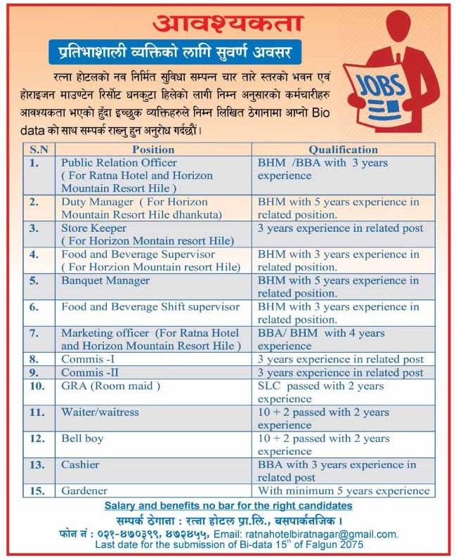 Ratna Hotel Job Vacancy Notice - Collegenp