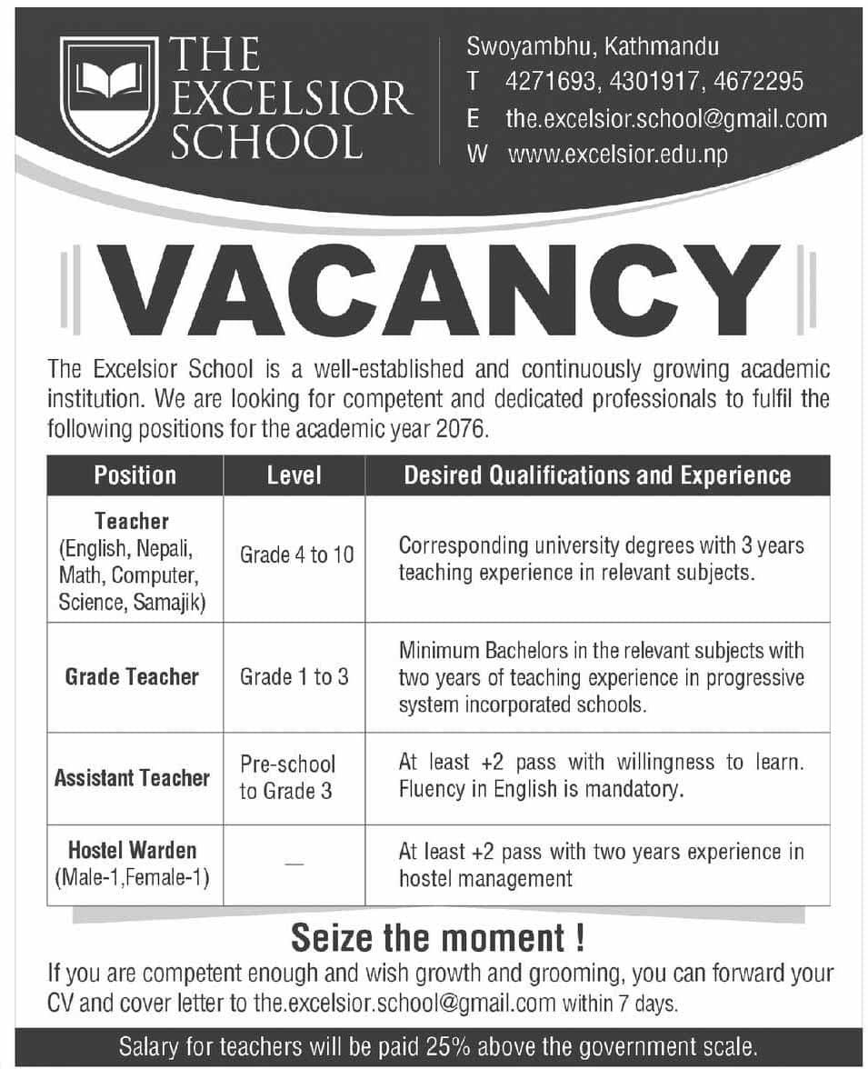 The Excelsior School Vacancy   Collegenp