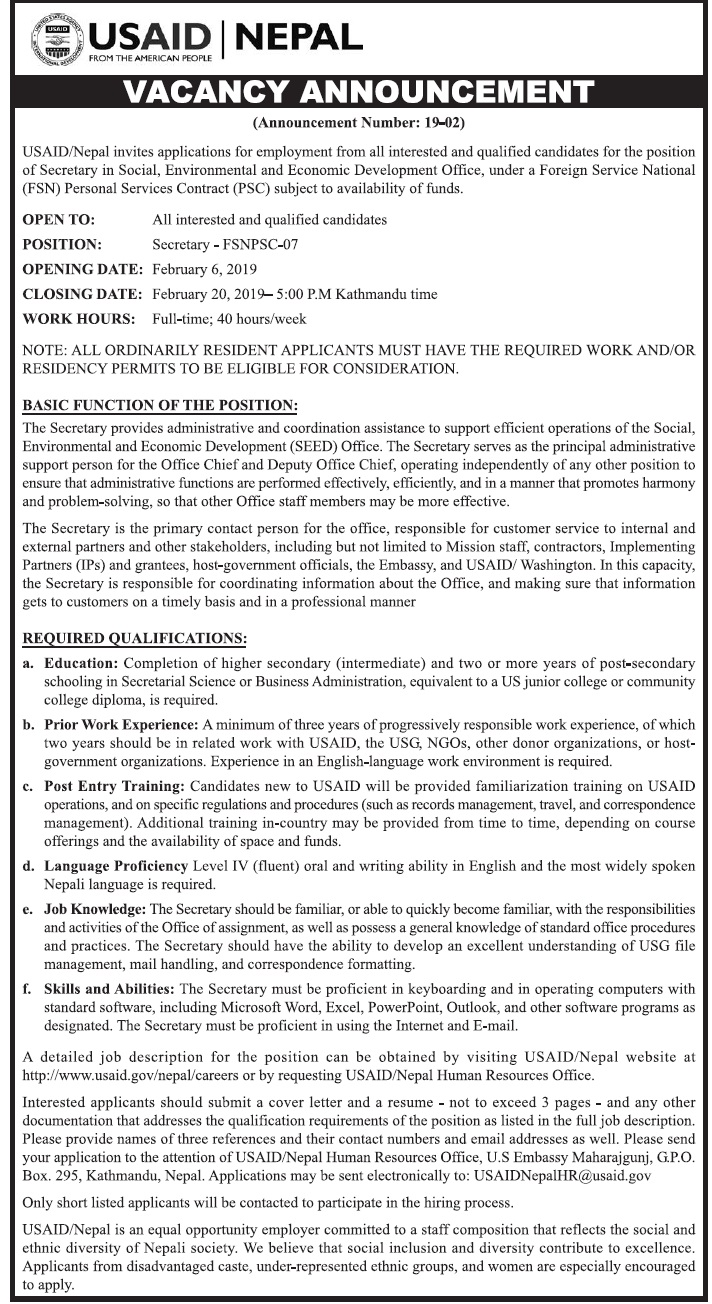 USAID Nepal Vacancy