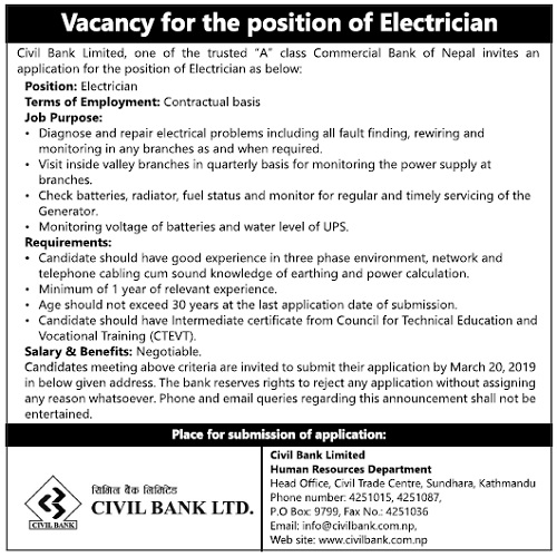 Civil Bank Vacancy for the position of Electrician