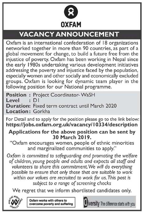 Oxfam Nepal Vacancy for Project Coordinator