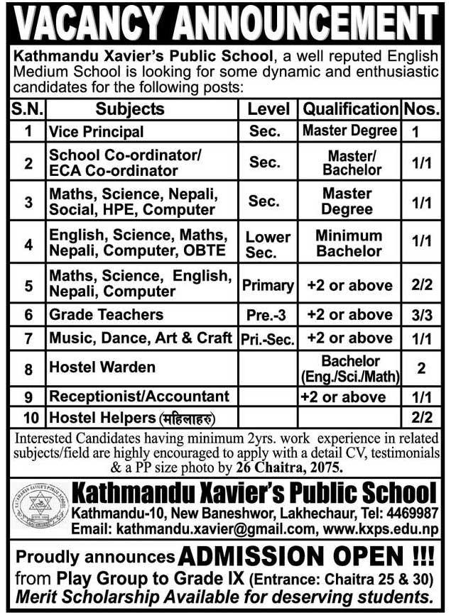 Kathmandu Xavier's Public School Job Vacancy | Collegenp