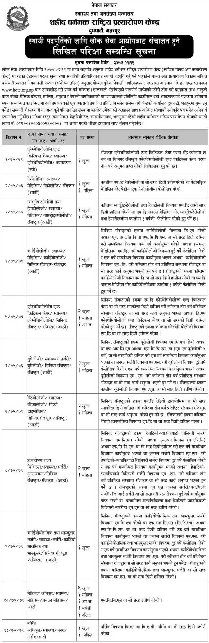 Shahid Dharma Bhakta National Transplant Center Vacancy