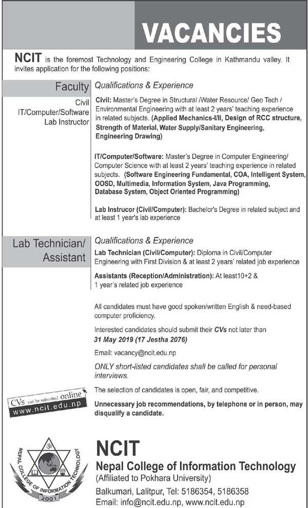 Nepal College of Information Technology (NCIT) Job Vacancy