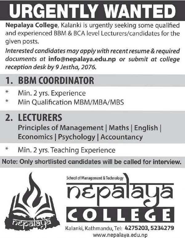 Nepalaya College Vacancy Notice | Collegenp