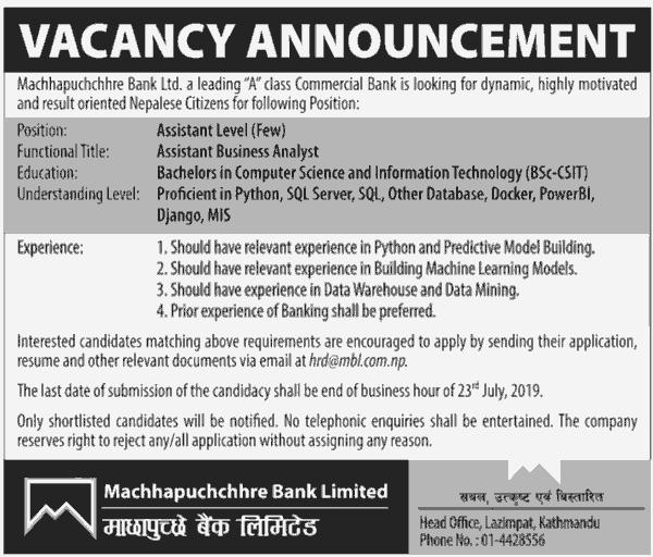 Machhapuchchhre Bank Job Vacancy for Assistant Level | Collegenp