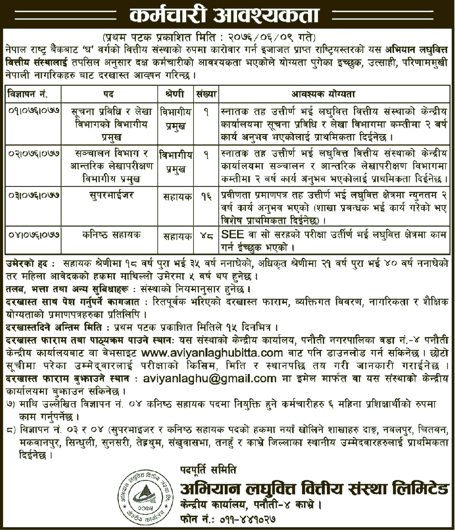 Abhiyan Laghubitta Bittiya Sanstha Limited Vacancy for Various Positions