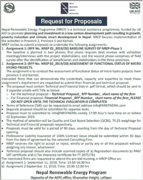 Nepal Renewable Energy Program Request for Proposals | Collegenp