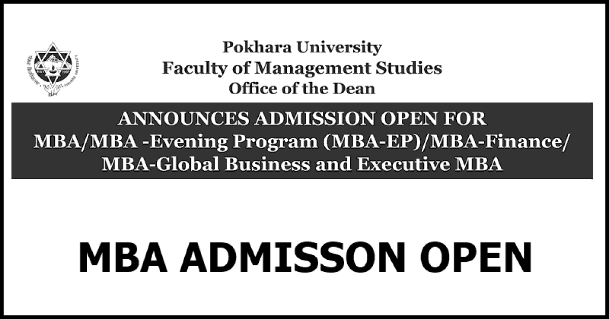 MBA Admission Open at Pokhara University Affiliated Colleges