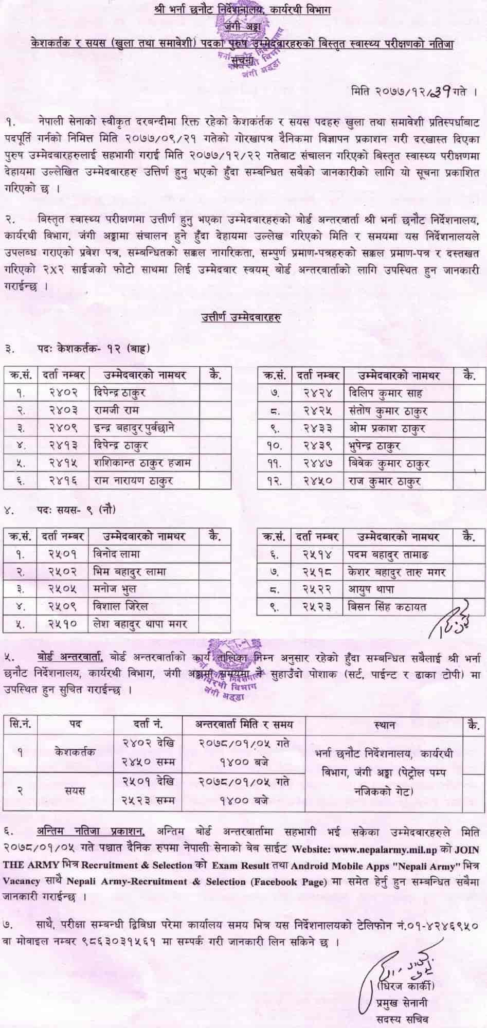 Nepal Army Keshkartak and Sayes Detailed Medical Examination Result (Male Candidates)