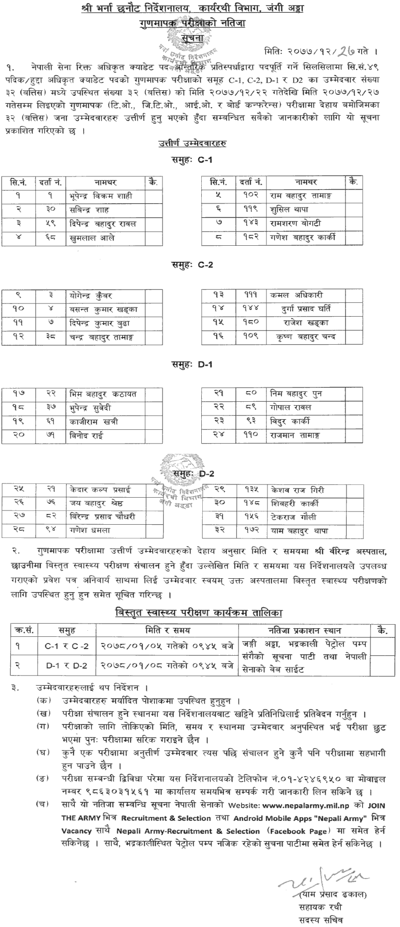 Nepal Army Officer Cadet (Hudda - JCO, NCO) Result of TO, JTO, IO and Board Conference