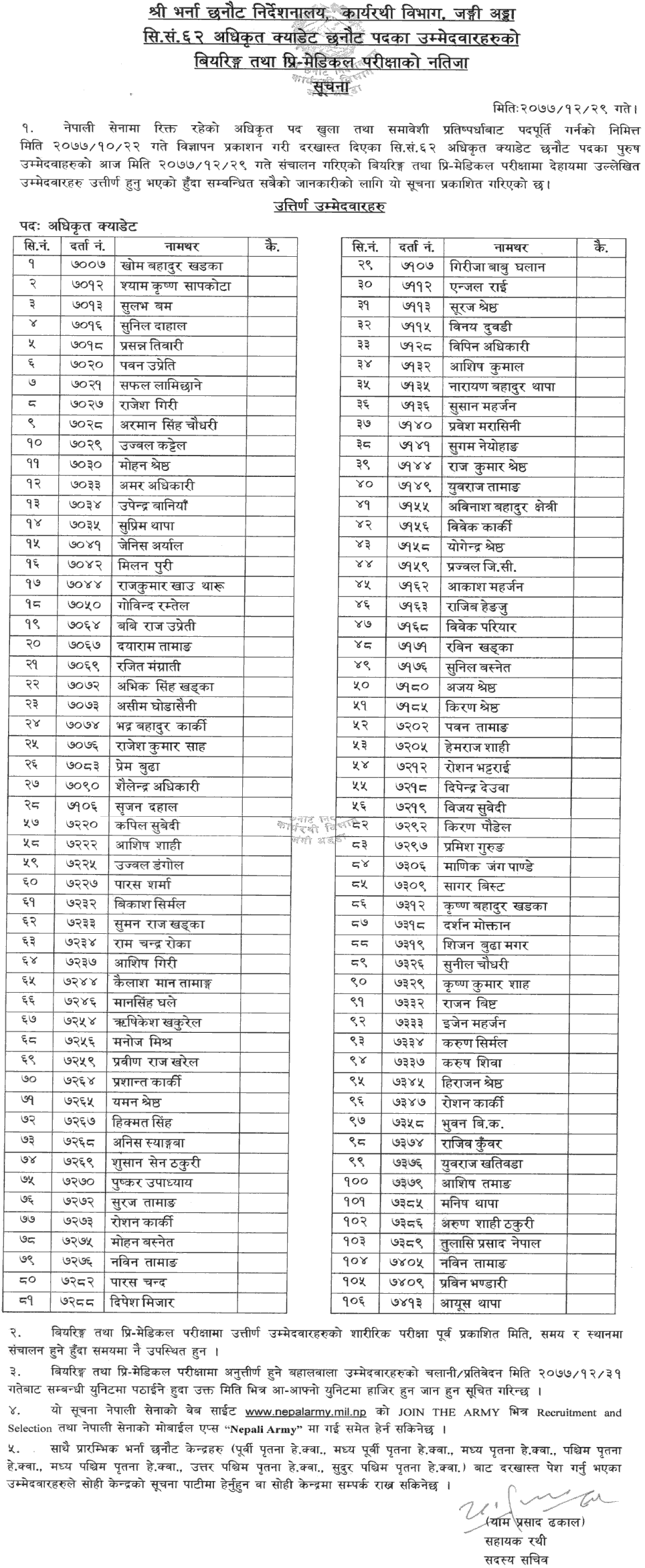 Nepal Army Officer Cadet Bearing, Pre-Medical Exam Result (Male)