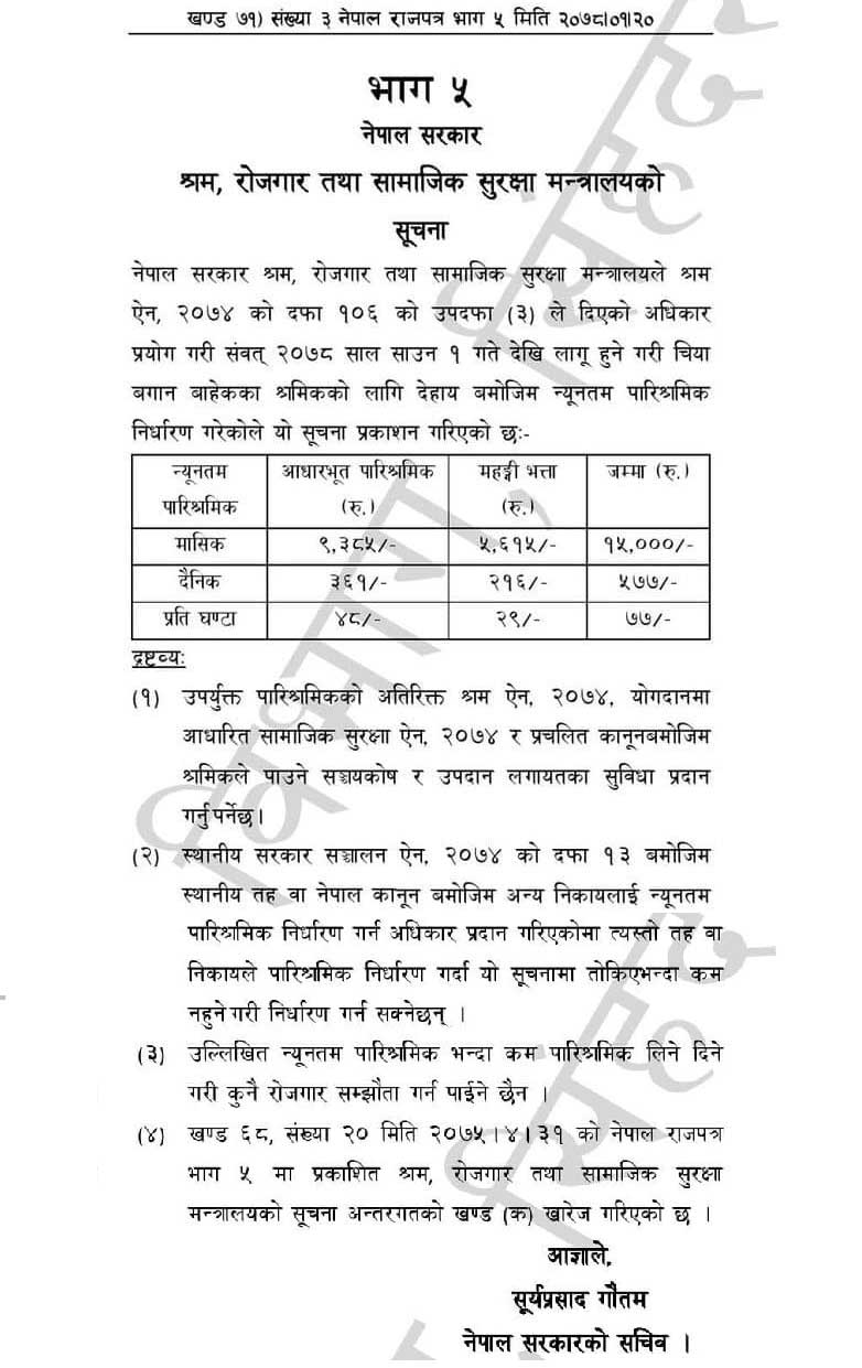 Government Fixed New Minimum Wages Rate of Labour in Nepal