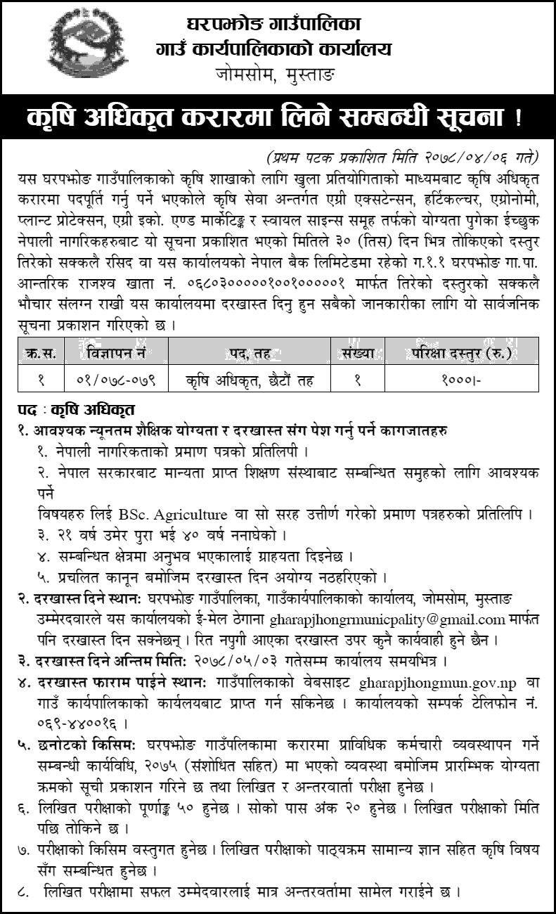 Gharapjhong Rural Municipality Vacancy for Agriculture Officer