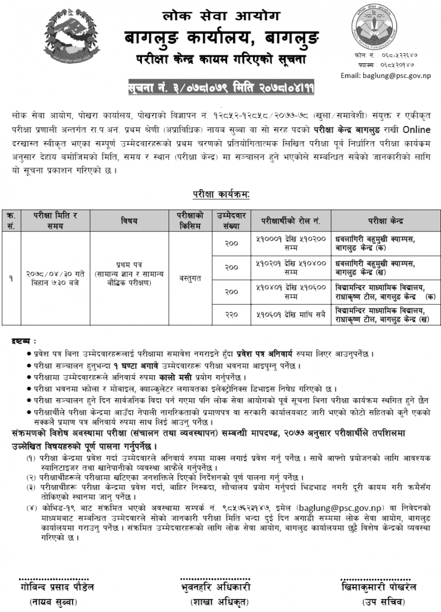 Lok Sewa Aayog Nayab Subba First Phase Written Exam Center Baglung