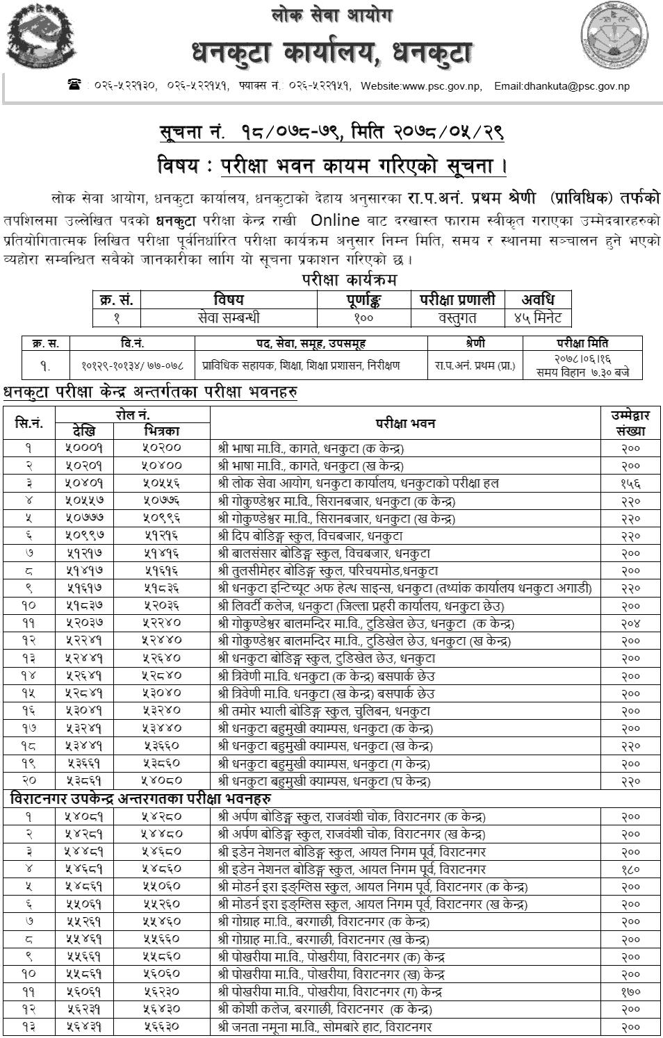 Lok Sewa Aayog Prabidhik Nayab Subba (Nasu) Exam Center Dhankuta