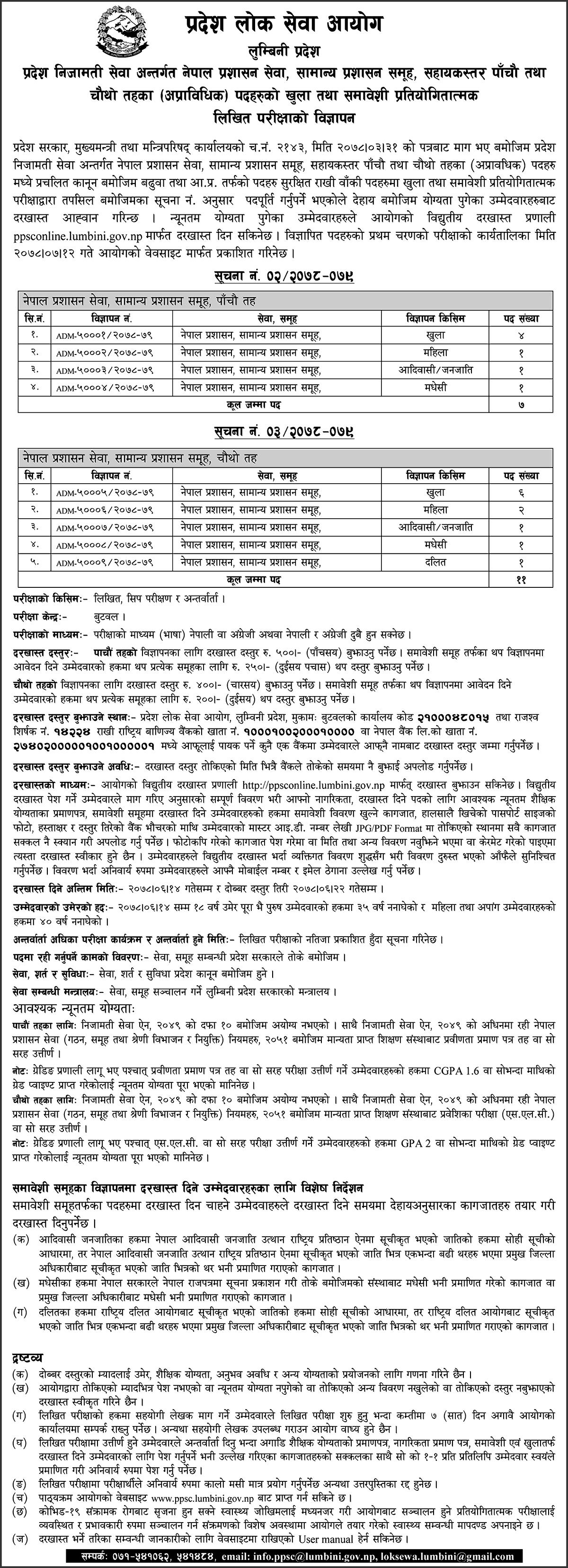Lumbini Pradesh Lok Sewa Aayog Vacancy for 4th and 5th Level Administration Service