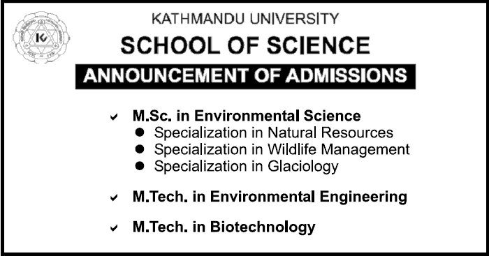 M.Sc. in Env. Science, M.Tech. in Env. Eng. and M.Tech. in Biotechnology at KUSOS
