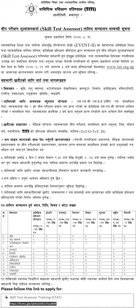 Online Apply for Skill Test Assessor Training from TITI