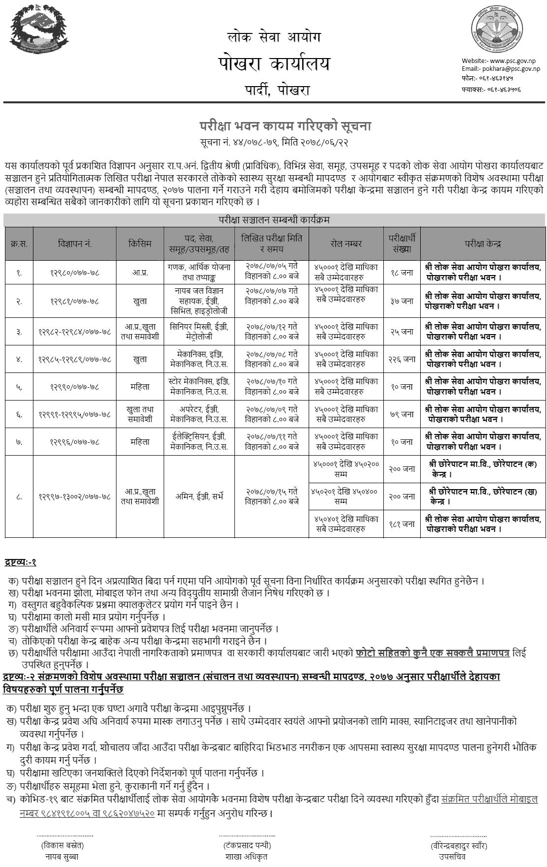 Lok Sewa Aayog Pokhara Written Exam Center of Prabidhik Kharidar